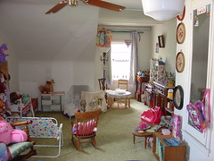 The Play House Area (raining rita) Tags: toys tea pots teapot dishes carebears playhouse teaparty pans playroom playfood childrensfurniture dollbeds