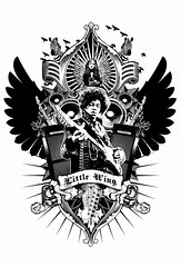 Jimi Hendrix - Little Wing Crest (W70) Tags: music art fashion illustration guitar butterflies icon rockroll zebra legend teeshirt jimihendrix littlewing fenderstratocaster guitargod apparel amplifiers w70 shanejwiggins wseventy shanewiggins