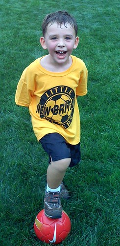 A 4-yr-old excited about starting youth soccer
