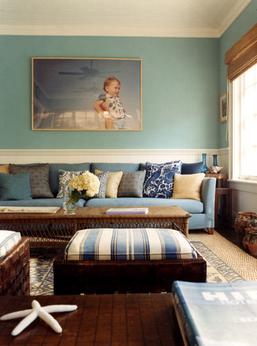 Blue & brown, Hamptons style: Perfect blues + natural accents + pattern mix