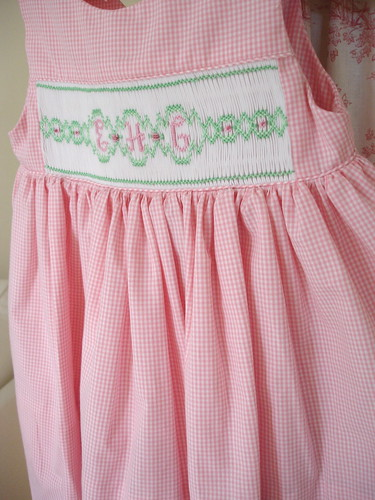 Smocked Monogram Dress, Pink Gingham