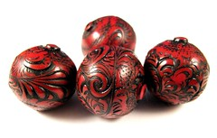 Tomato Red Faux Tooled Leather Focal Beads