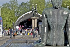 Skulpturparken på Rådhusplassen blir ofte brukt til arrangementer.