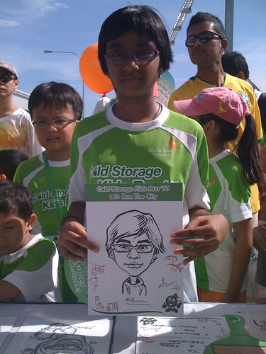caricature live sketching for Cold Storage Kids Run 2010 - 9