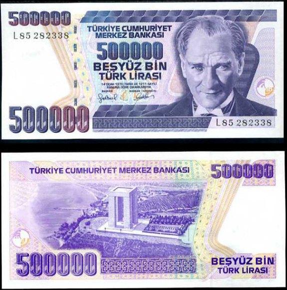 500 000 Lír Turecko 1998, P212