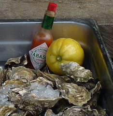 Whitstable oysters (maggie224 -) Tags: ice lemon oysters whitstable 141 peppersauce