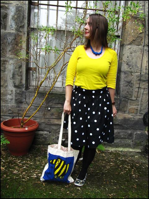 polkadots and yellow and blue