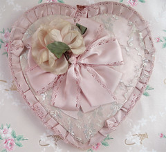 Shabby Vintage Valentine Chocolate Box (such pretty things) Tags: old pink flowers wallpaper holiday vintage ruffles candy heart box lace chocolate pastel valentine worn ribbon valentinesday tattered pleats millinery shabbychic