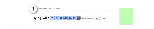 Ubiquity badge beside selected text