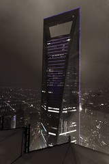 WFC from Jin Mao Tower, Shanghai, China (Breizhou) Tags: china bw tower asia nb asie pudong chine wfc skycraper shenghai blancetnoirblackandwhite bwnb lptowers