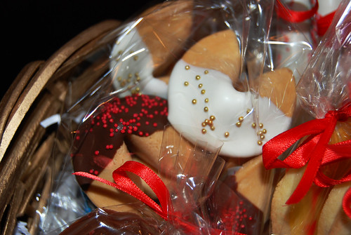 red and gold chocolate dipped fortune cookies