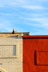 Rooftops (Byronasorus) Tags: blue red cloud abstract brick rooftop geometrical