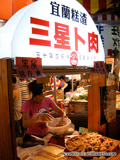famous stall with very long queue