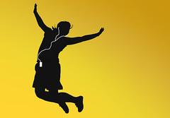 [フリー画像] グラフィックス, イラスト, 人物(イラスト), 跳ぶ・ジャンプ, イエロー, iPod, 音楽を聴く, 201005031500