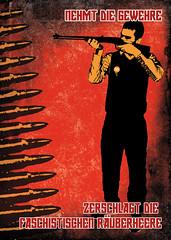 One Man Army (FG.) Tags: streetart pasteup stencil sticker propaganda communism weapon frankfurtammain sovietunion fg ffm onemanarmy ernstbusch erichweinert derheimlicheaufmarsch