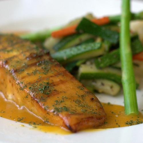 Grilled Salmon with Orange Sauce (Blanco's, Delhi)