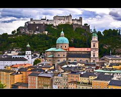 Goodbye Salzburg (Nathan Bergeron Photography) Tags: mountains salzburg architecture clouds geotagged austria interestingness europe artist view rooftops dom unesco worldheritagesite dome getty viewpoint steeples picks festunghohensalzburg thesoundofmusic salzburgcathedral baroquearchitecture explored hohensalzburgcastle yearinfrance strupertscathedral 18122009 geo:lat=47801629 geo:lon=13046206