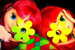 Peek-A-Boo (10/52) (Bebopgirl1969) Tags: blue red music orange flower green yellow lyrics doll peekaboo blythe mm nm siousxieandthebanshees
