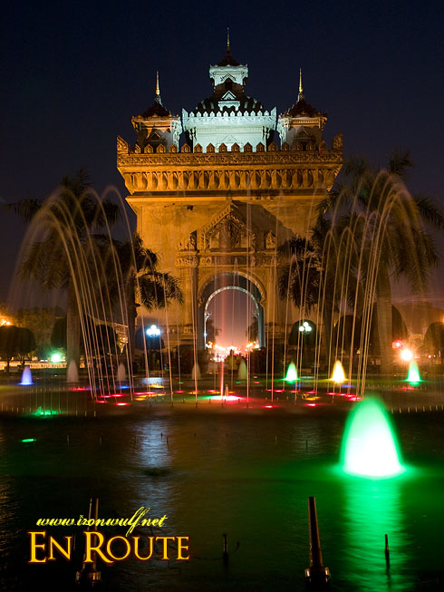 Patuxai Night Fountain View