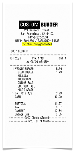 Custom Burger Receipt