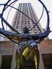 Atlas Statue in Rockefeller Center (Gary Burke.) Tags: nyc newyorkcity sculpture ny newyork statue bronze greek artist manhattan 5thavenue rockefellercenter landmark icon midtown atlas fifthavenue titan mythology leelawrie gebuilding 5photosaday garyburke topazadjust