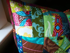 quilted pillow (joontoons) Tags: germany quilt sewing pillow birthdaygift crazyquilt gardenparty kaffefassett amybutler michaelmiller heatherbailey heatherross annamariahorner valoriwells tulapink erinmcmorris pattyyoung joontoob