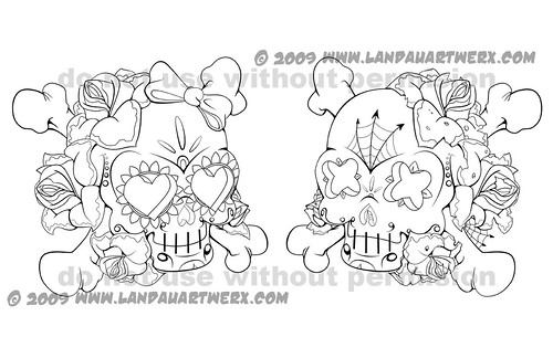 Well here's some more tattoos sketches. Love and Death sugar skulls.