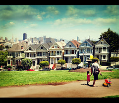 Six Painted Ladies and A Li'l Lady in Pink (Ma) Tags: sanfrancisco california explore frontpage victorianhouses paintedladies alamosquare