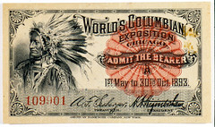 Ticket with portrait of Native American (The Field Museum Library) Tags: chicago illinois ticket whitecity worldsfair 1893 worldscolumbianexposition commons:event=commonground2009