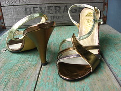 1960s deadstock metallic gold and silver Valley sandals (Small Earth Vintage) Tags: new leather vintage silver gold shoes sandals metallic cocktail valley heels 1960s strappy deadstock withbox smallearthvintage