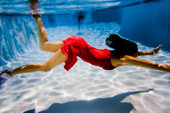 fluidity (SARA LEE) Tags: california light orange pool girl swimming underwater hannah figure refraction oc reddress sarahlee ewamarine legothenego hannaht vivantvie