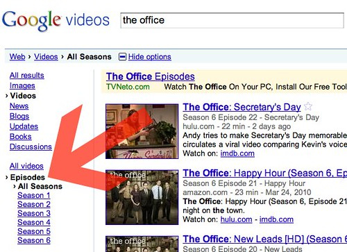 Episodes on Google Video Search