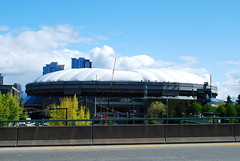 BC Place deflates (mee dee mah) Tags: vancouver dome bcplace deflated inflated cambiebridge pressurized