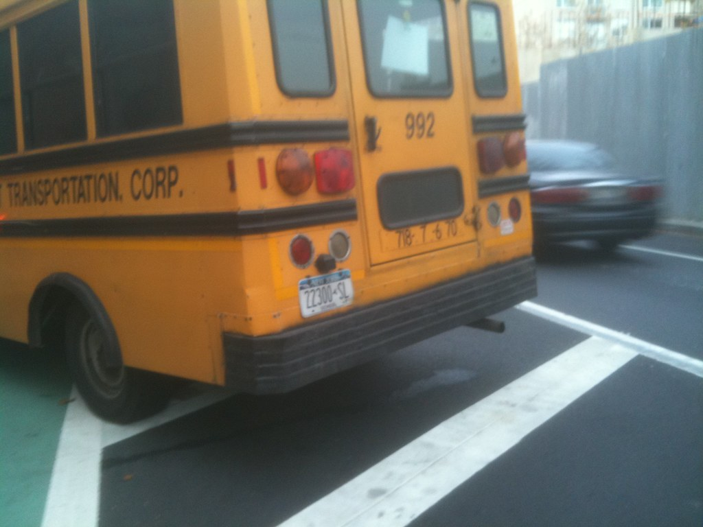 school bus in bike lane