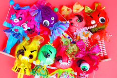 Monster Maulies! (boopsie.daisy) Tags: color cute colors monster balloons toy crazy rainbow furry funny colorful candy fuzzy handmade ooak stripes balloon siamese cyclops polka bow babydoll monsters dots roar bows quirky googly rar cutesie cutesy 2headed boopsiedaisy thesiamesa
