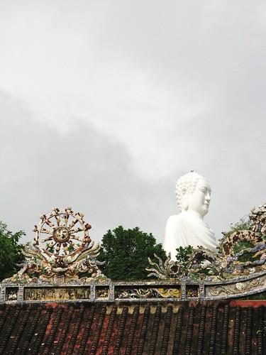 Vanishing white Buddha at Long Son Pagoda, Nha Trang, Vietnam