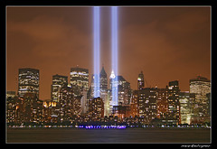 NY Tribute in Lights (#8) (markeloper photography) Tags: world park new york city nyc river liberty memorial manhattan towers 911 battery twin ground center 11 september jersey wtc hudson tribute trade zero kartpostal markeloper lptowers