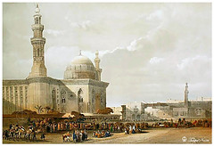 Mosque of Sultan Hassan - Cairo In 16th Century (Tulipe Noire) Tags: africa old century painting minaret egypt middleeast mosque cairo sultan hassan 16