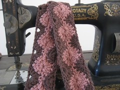 crochet brown & pink scarf