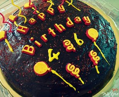 Happy Birthday Dad ^^ (pinkyia) Tags: birthday red yellow cake happy dad candle chocolate cream frosting 46 pinkyia pinkroro