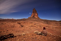 Self Portrait at Agathla Peak (Tyler Westcott) Tags: longexposure selfportrait night fullmoon explore moonlit moonlight monumentvalley elcapitan navajotribalpark agathla nikond90