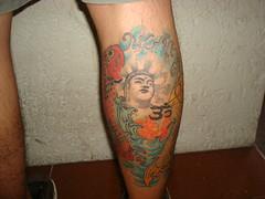 Calf-Piece (Bebop Bon) Tags: tattoo ink asian waves buddha leg tattoos koi oriental calf budda pinoy ohm tattooed freshink pinoytattoo japanesese
