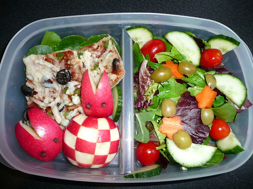Homemade Pizza, Apple, Salad with Lite Italian Dressing and Green Olives.  280 Calories.