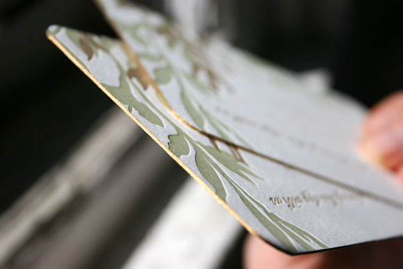 Gold edging on Engadine wedding favor card - Smock