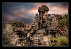 Montezuma's Revenge. (The Devil in the Detail) Tags: park old disneysea sky statue japan stone clouds canon river mexico fun tokyo ancient raw ride maya aztec disneyland steps disney historic fantasy tropical roller theme coaster hdr attraction raging 24105 newworld toltec photomatix tonemapped 5dmark2