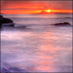 Eigg Sunset from Glenuig (angus clyne) Tags: longexposure sunset sea highlands waves innerhebrides clich eigg flikcr isleofeigg glenuig smallisles westscotland soundofarisaig colorphotoaward aplusphoto bestflickrphotography vosplusbellesphotos