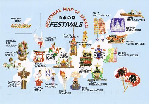 Japan Festivals Map Postcard A Photo On Flickriver - Japan map cartoon