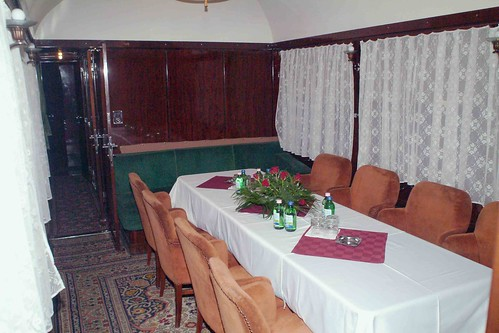 Train Chartering - Hungarian former presidential rail car, dining area