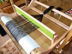 Ashford rigid heddle loom being warped