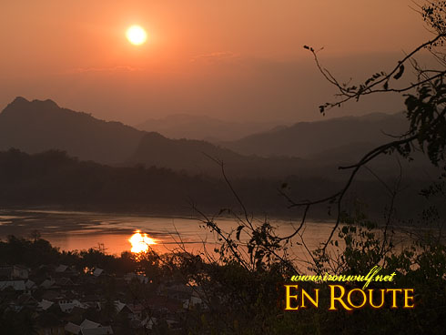 Phu Si Hills View of Luang Prabang Town and Mekong  River Sunset